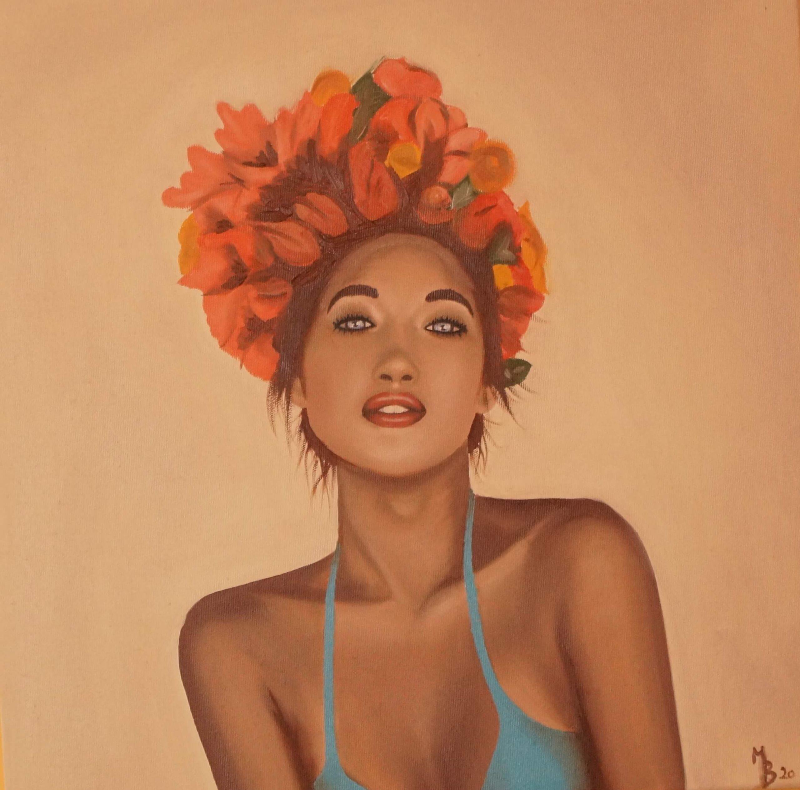 olejomalba dívka s květy ve vlasech