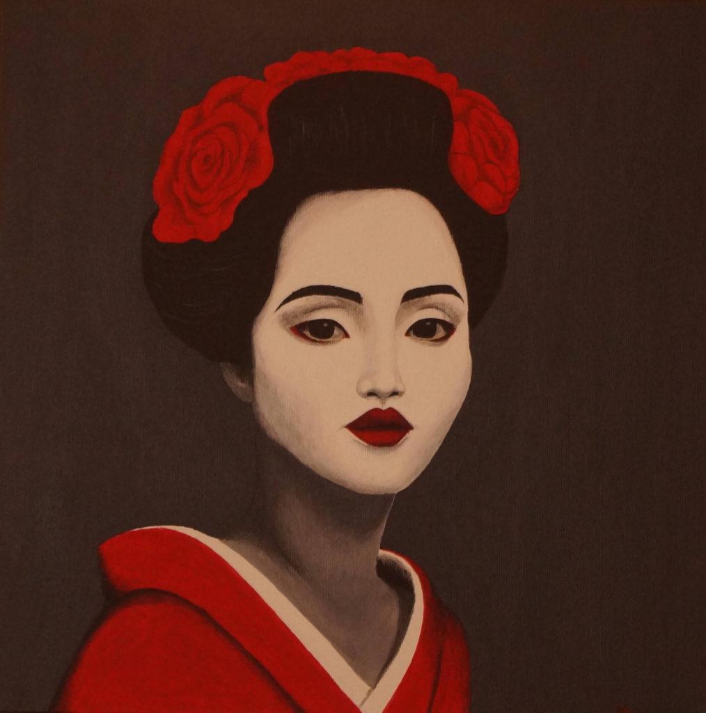 obraz akrylem gejša v černém