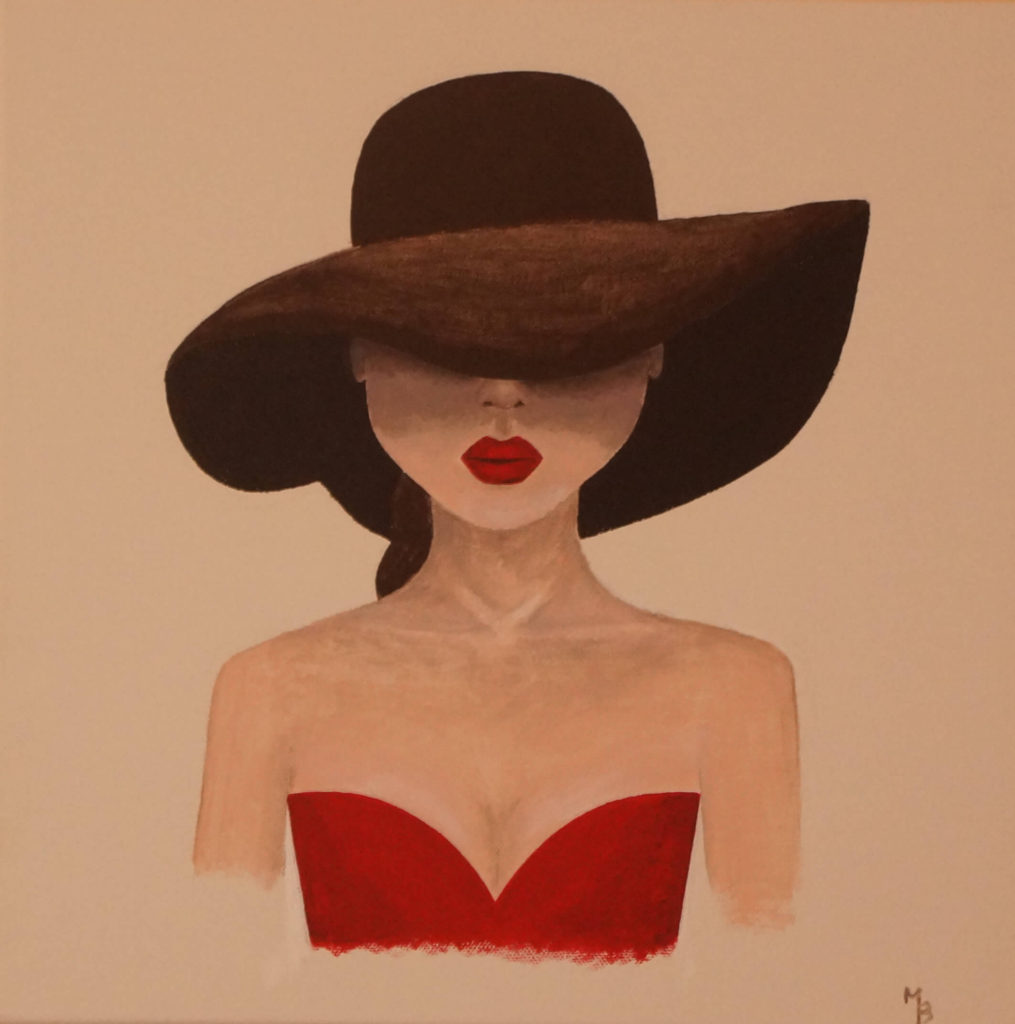 obraz akrylem tajemná dáma