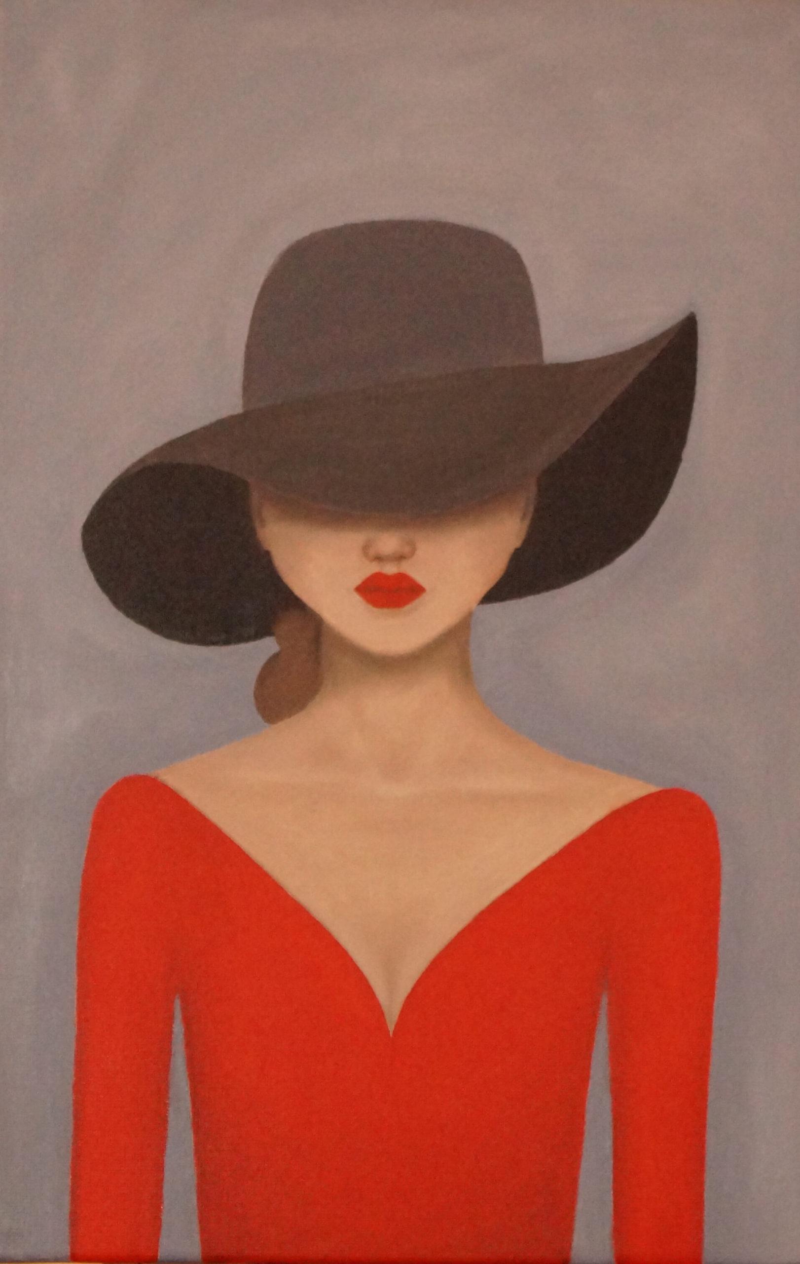olejomalba dámy v červeném