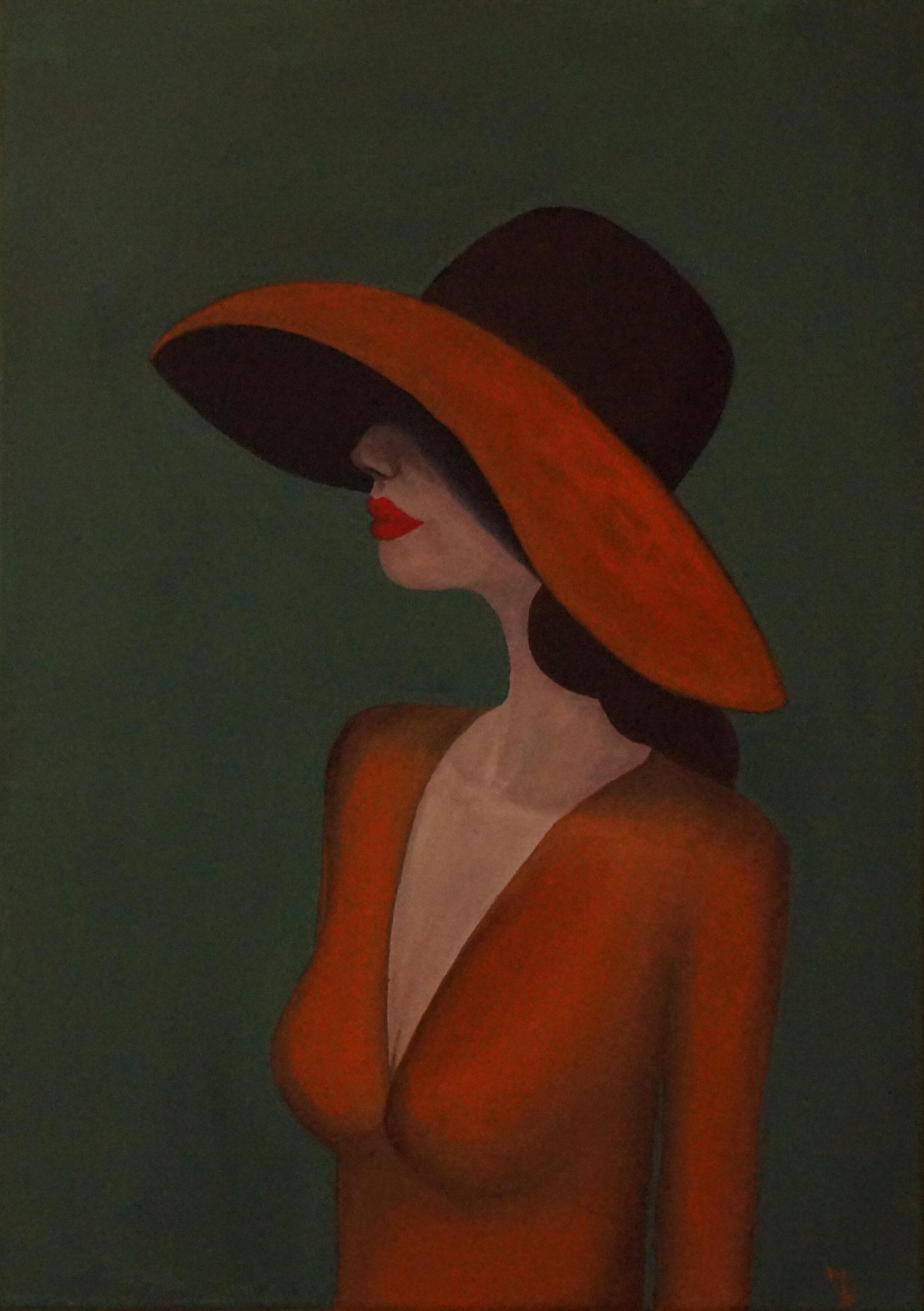 obraz akrylem žena v klobouku