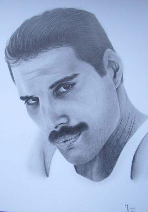 kresba portrétu Freddieho Mercuryho