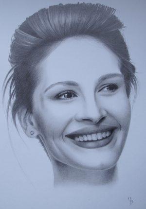 kresba portrétu Julie Roberts